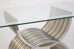 Romeo Rega Romeo Rega Dining Table in Chromed and Brassed Steel with Glass - 2053427