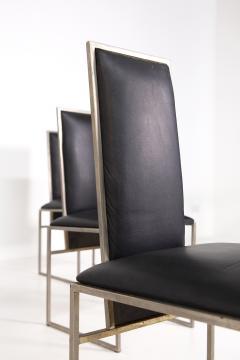 Romeo Rega Romeo Rega Six Dining Chairs in Black Leather and Steel - 2045170