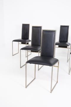 Romeo Rega Romeo Rega Six Dining Chairs in Black Leather and Steel - 2045172