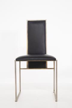 Romeo Rega Romeo Rega Six Dining Chairs in Black Leather and Steel - 2045173