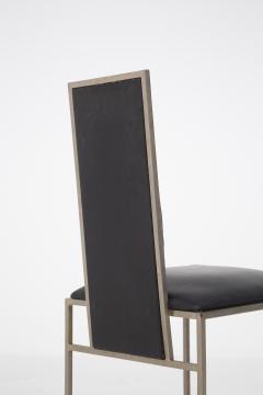 Romeo Rega Romeo Rega Six Dining Chairs in Black Leather and Steel - 2045174