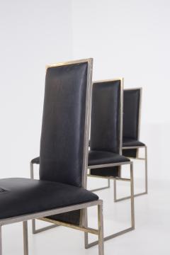 Romeo Rega Romeo Rega Six Dining Chairs in Black Leather and Steel - 2045175