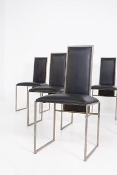 Romeo Rega Romeo Rega Six Dining Chairs in Black Leather and Steel - 2045176