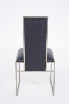 Romeo Rega Romeo Rega Six Dining Chairs in Black Leather and Steel - 2045177