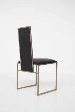 Romeo Rega Romeo Rega Six Dining Chairs in Black Leather and Steel - 2045178