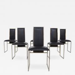 Romeo Rega Romeo Rega Six Dining Chairs in Black Leather and Steel - 2046359