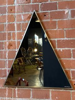 Romeo Rega Triangular Steel Framed Mirror by Romeo Rega Nazaret Italy 1970s - 1290336