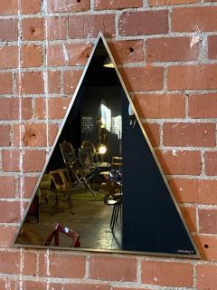 Romeo Rega Triangular Steel Framed Mirror by Romeo Rega Nazaret Italy 1970s - 1290338