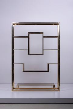 Romeo Rega Very Huge Brass and Tinted Glass Bookshelf or tag re by Romeo Rega - 1211146