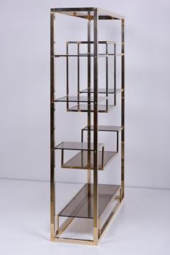 Romeo Rega Very Huge Brass and Tinted Glass Bookshelf or tag re by Romeo Rega - 1211150