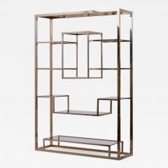 Romeo Rega Very Huge Brass and Tinted Glass Bookshelf or tag re by Romeo Rega - 1211944
