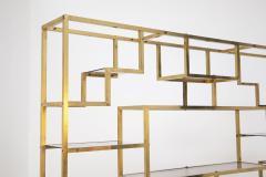 Romeo Rega Vintage bookcase by Romeo Rega in Brass Glass and Wood - 2066861