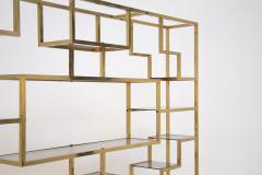 Romeo Rega Vintage bookcase by Romeo Rega in Brass Glass and Wood - 2066862