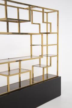 Romeo Rega Vintage bookcase by Romeo Rega in Brass Glass and Wood - 2066864