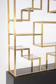 Romeo Rega Vintage bookcase by Romeo Rega in Brass Glass and Wood - 2066866