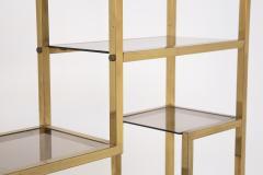 Romeo Rega Vintage bookcase by Romeo Rega in Brass Glass and Wood - 2066867
