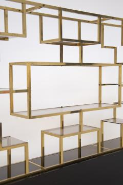 Romeo Rega Vintage bookcase by Romeo Rega in Brass Glass and Wood - 2066868