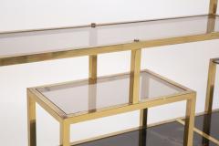 Romeo Rega Vintage bookcase by Romeo Rega in Brass Glass and Wood - 2066869