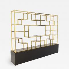 Romeo Rega Vintage bookcase by Romeo Rega in Brass Glass and Wood - 2068782