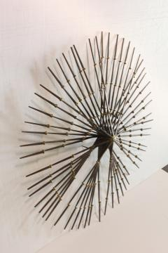 Ron Schmidt Mid Century Gilded Metal Sunburst Wall Sculpture by Ron Schmidt - 360428