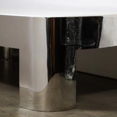Ron Seff Mid Century Modern Polished Chrome White Granite Cocktail Table by Ron Seff - 1950222