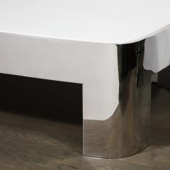 Ron Seff Mid Century Modern Polished Chrome White Granite Cocktail Table by Ron Seff - 1950229