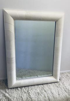 Ron Seff Ron Seff Linen ans woven fabric White Lacquered Mirror - 1375866