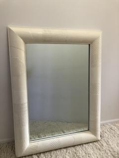 Ron Seff Ron Seff Linen ans woven fabric White Lacquered Mirror - 1375868