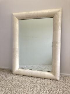 Ron Seff Ron Seff Linen ans woven fabric White Lacquered Mirror - 1375872
