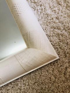 Ron Seff Ron Seff Linen ans woven fabric White Lacquered Mirror - 1375884