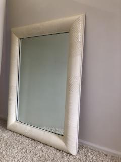 Ron Seff Ron Seff Linen ans woven fabric White Lacquered Mirror - 1375885