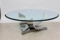 Ron Seff Ron Seff Polished Chrome and Stainless Steel Glass Top Low Table - 727632