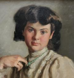 Ronald Gray Portrait Of A Woman Pulling On Her Necklace an Oil Painting by Ronald Gray - 1143013
