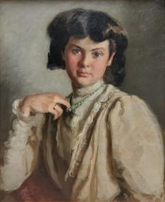 Ronald Gray Portrait Of A Woman Pulling On Her Necklace an Oil Painting by Ronald Gray - 1143014
