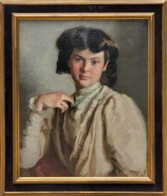 Ronald Gray Portrait Of A Woman Pulling On Her Necklace an Oil Painting by Ronald Gray - 1143015