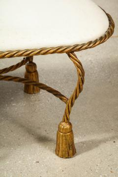 Rope and Tassel Upholstered Gilt Metal Bench - 1175497