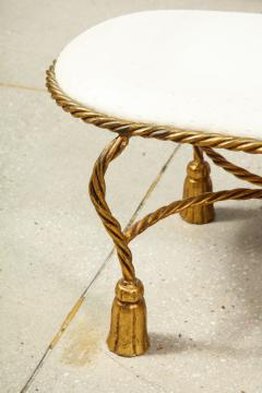 Rope and Tassel Upholstered Gilt Metal Bench - 1175498