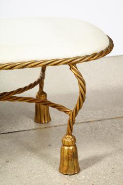 Rope and Tassel Upholstered Gilt Metal Bench - 1175505