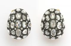 Rose Cut Diamond Egg Earrings - 334875