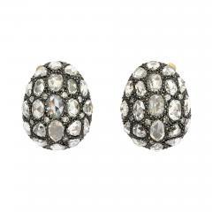 Rose Cut Diamond Egg Earrings - 335321