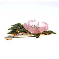 Rose Quartz Jade Diamond Gold Flower Brooch - 389051