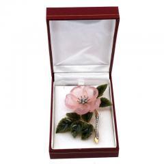 Rose Quartz Jade Diamond Gold Flower Brooch - 389053