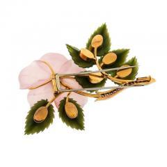 Rose Quartz Jade Diamond Gold Flower Brooch - 389054
