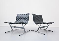 Ross F Littell Pair Of Italian Lounge Chairs By Ross Littell For ICF 1970s - 1891561