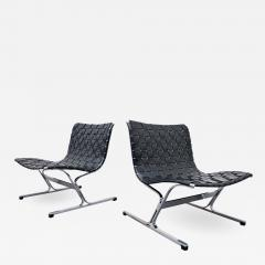 Ross F Littell Pair Of Italian Lounge Chairs By Ross Littell For ICF 1970s - 1894198