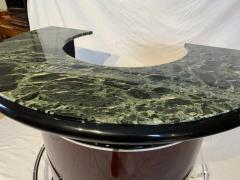 Round Art Deco Bar with Two Stools Palisander Veneer Marble Top France 1950s - 1730280