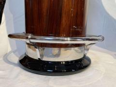 Round Art Deco Bar with Two Stools Palisander Veneer Marble Top France 1950s - 1730290