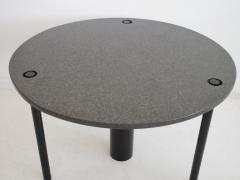 Round Black Lacquered Metal and Granite Dining Table - 1597877