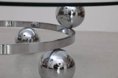 Round Chrome Sputnik Atomic Coffee Table with Glass Top - 1101135