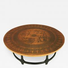 Charmant Round Copper Leaf Relief And Ebonized Walnut Coffee Table   237610